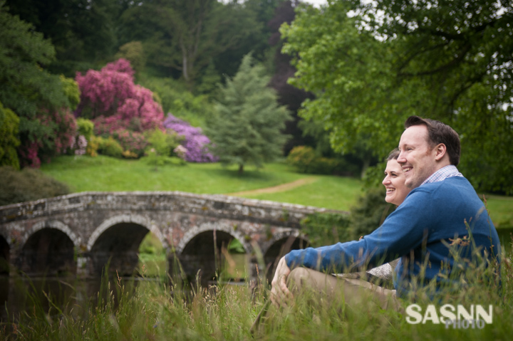 Portrait of the couple near the bridge in Stourhead