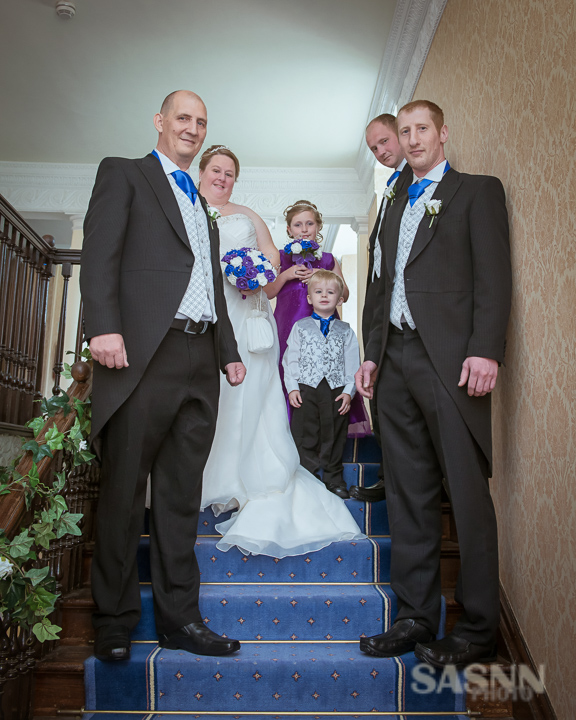 Bridal party on the stairs