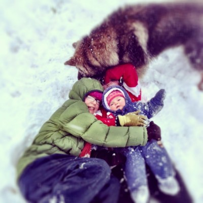 iPhone4s picture of a family playing in snow
