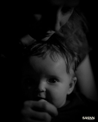 Baby girl Katerina at 7 months with her mom. B/W