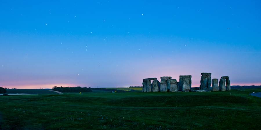Stonehenge just before Full moon rise