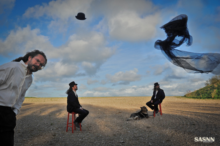 Multiplied selfportrait of Alexander Soloviev with a dog